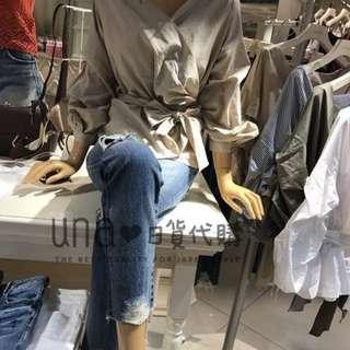 🚚 全新轉賣❤ Una in jp 日本連線現貨 Rienda 折扣可愛甜美日系V領綁帶襯衫-米色
