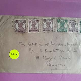 British INDIA - 1949 - MANY STAMPS King GEORGE - vintage  Airmail Postal History / Cover -> RANGOON , BURMA  - ia004