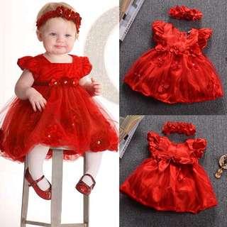 🌸2 PCS SET BABY NEWBORN GIRL KIDS PRINCESS DRESS LACE PAGEANT PARTY DRESS+HEADBAND🌸