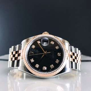 Pre owned Rolex Datejust everosegold diamond watch