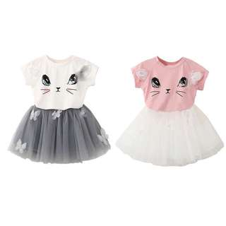 🌸KIDS GIRLS SUMMER CUTE CAT T-SHIRT+NET VEIL TUTU SKIRT🌸