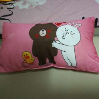 In stock. Line Brown Bear ice silk car pillow or baby pillow