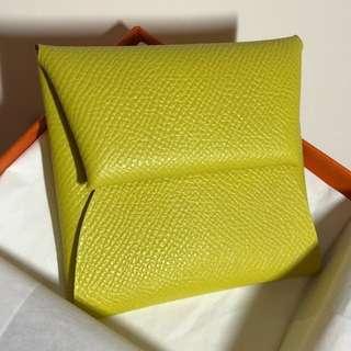 Hermes coin bag NEW Lime yellow 香港購買原價出售 valentines 情人節