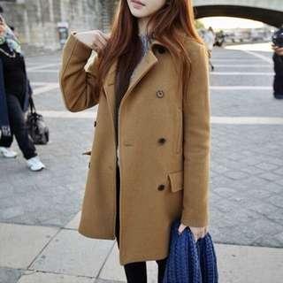 😍[Premium] 🖐🏼🖐🏼返貨啦🌟出口韓國🇰🇷A字型修身中長外套,雙排扣好有英倫簡約feel $299
