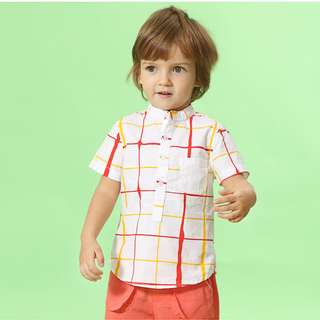 TZ033 Toddler Boys Mandarin Collar Checks Shirt - Red