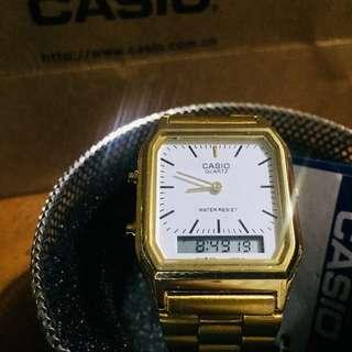 CASIO AQ-230GA-9DMQ Women's Gold Stainless Steel Strap Watch OEM