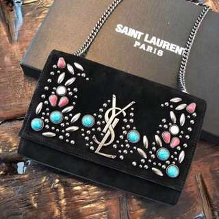 YSL KATE BERBER CHAIN BAG IN BLACK SUEDE WITH MULTICOLORED BEADS