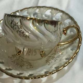 Footed pearlized teacup & saucer