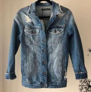 NWT Mavi Jeans Distressed Boyfriend Jacket in Size XS
