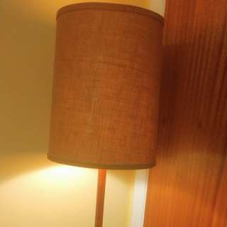 Vintage teak floor lamp with burlap shade