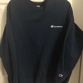 Vintage Champion Crewneck - Navy Blue -  X Large