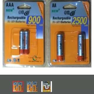 2-Rechargeable Batteries  AA 2500mAh                                                        or AAA 900mAh                                                                          Super Quick Charger