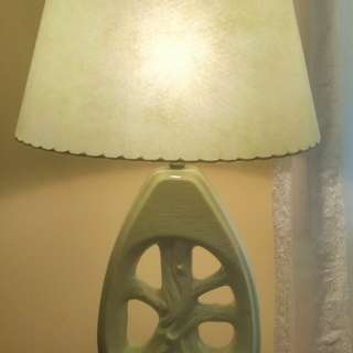Beautiful Vintage pottery lamp light green..Reduced