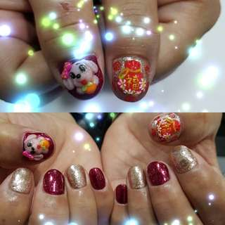 Gel Manicure(cny promo full set of gel with cute 3d handmade doggy n fortune bag:)