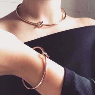 MIMCO Rose Gold Necklace + Bangle Set