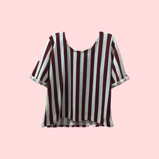 Blouse with maroon stripes