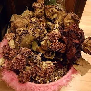 Whole bunch of dried flowers. Roses, Carnations, Baby's breath.