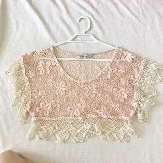 embroidered peach top
