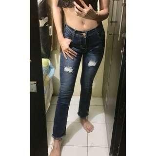 Jeans panjang midle waist semi curbray #awaltahun