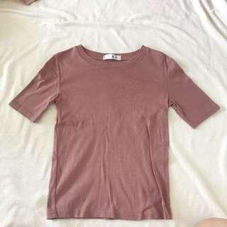 muave pink basic top