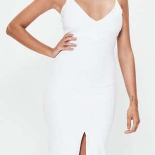 White Plunge Bodycon Midi Dress
