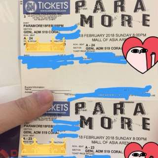 2 Gen Ad Paramore tour four ticket