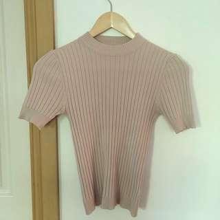 Beige rib knit tight fitting top