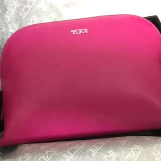 tumi small leather cosmetics case (Fushsia)