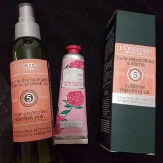 Loccitane Soap, Hair Oil, Mist, Handcream