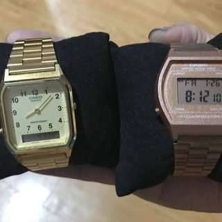 Casio Gold and Rosegold Digital watches