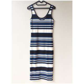 TOPSHOP womens stripe midi dress size S top shop