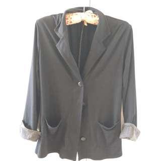 Blazer with poker dot sleeves in black