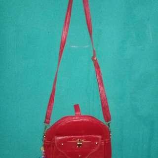Bag long strap red ukuran 27×17