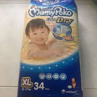 Mamypoko Diapers Extra Dry XL 34 pcs