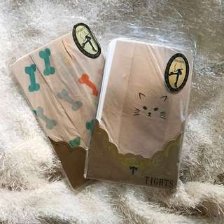 2 Pairs of Tights: Cat And Dog Bone Print