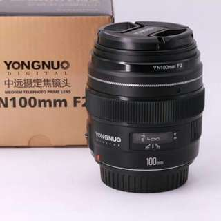 Lensa yongnuo 100mm f2.0 for canon