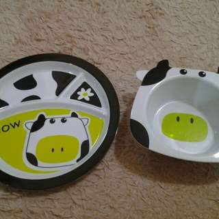 Cute tray and feeding bowl