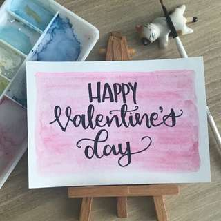 Calligraphy Valentine's Day Card