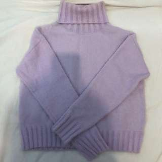 F21 Light Purple Fuzzy Turtleneck Sweater- Small