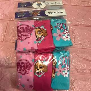 Instock now !! 4sets only !! Authentic Paw Patrol panties 3pcs set brand new size 3-4yrs-2sets and 4-5yrs 2sets