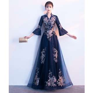 Gown Collection - Noble Navy Blue Mid Length Speaker Sleeves Gown