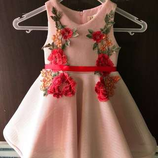 Light pink with embroidered flowers dress