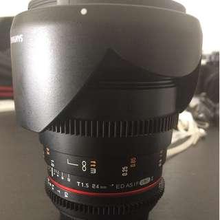 24mm Samyang 1.5 Cine Lens Canon Mount
