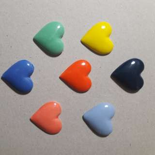 Ceramic hearts set of 7 valentine