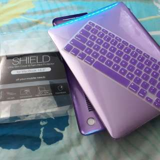 """Purple Macbook 13.3"""" (casing) trans glossy frosted case with keyboard protector"""