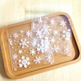 🚚 烘培包裝新年白色雪花透明自黏袋