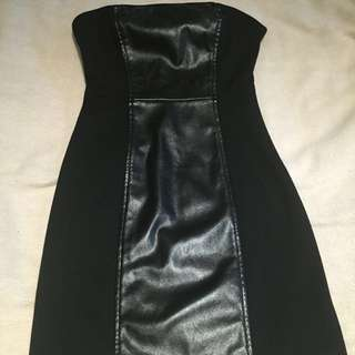 GUESS Pleather Strapless Dress