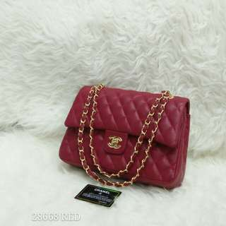Chanel Double Flap Caviar Medium Red