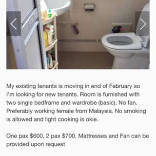 Common for rent (Preferably Malaysian Chinese)
