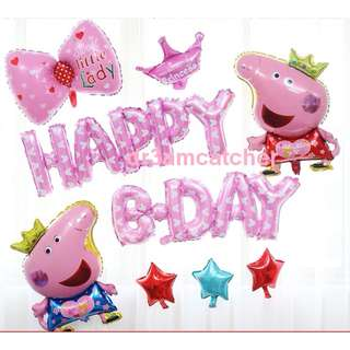 clearance and ready stock - Peppa Pig - Happy Bday balloon set
